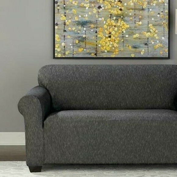 Swell Sure Fit Sofa Size Slipcover Black Stretch Denim Nwt Beatyapartments Chair Design Images Beatyapartmentscom